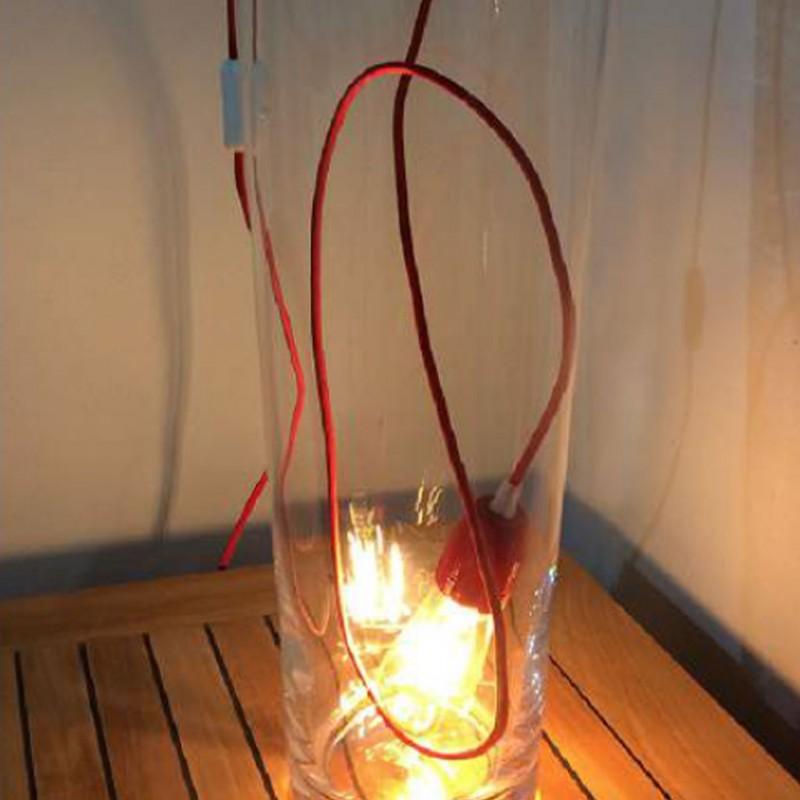 Lampada Spinello Ceramico E27 con portalampada in ceramica rossa