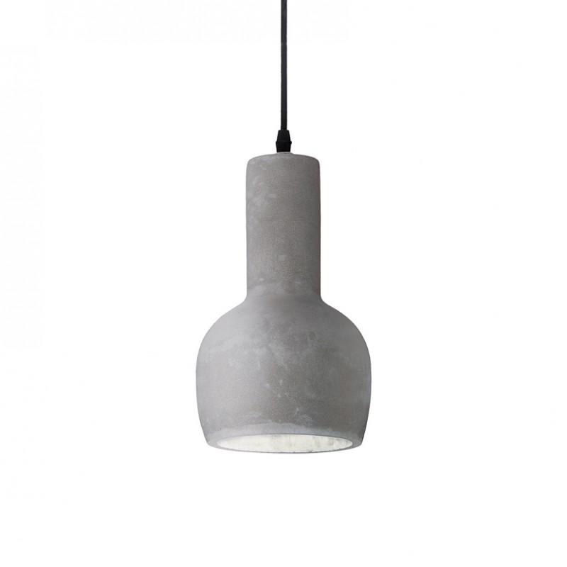 Lampada a sospensione Oil-3 in metallo con finitura nero opaco e diffusore è in cemento