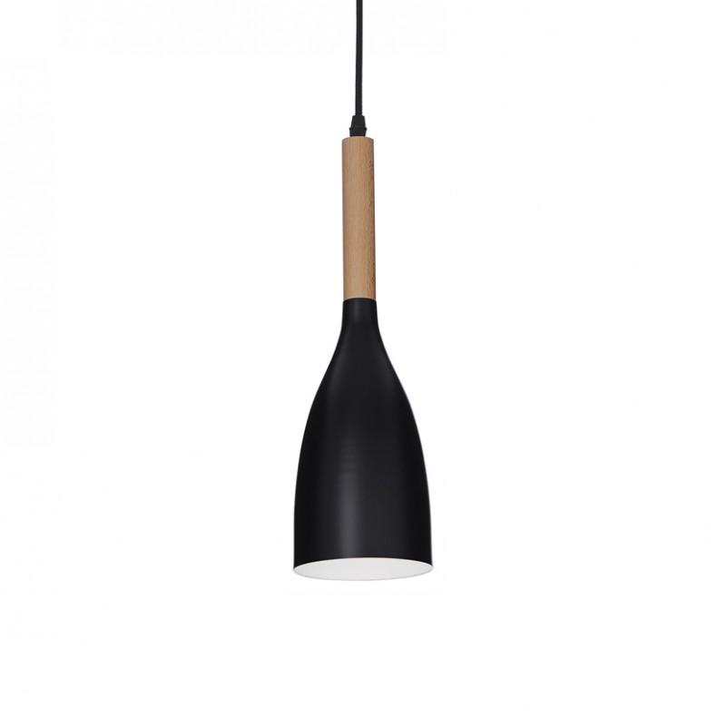 Lampada a sospensione Manhattan in metallo verniciato nero opaco e dettaglio in legno naturale