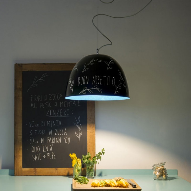 Lampada H2O Lavagna in vetroresina di colore nero ed interno azzurro