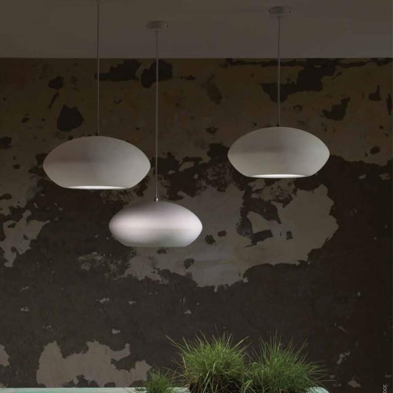 Lampada a sospensione PIETRO in metallo e ceramica bianco opaco