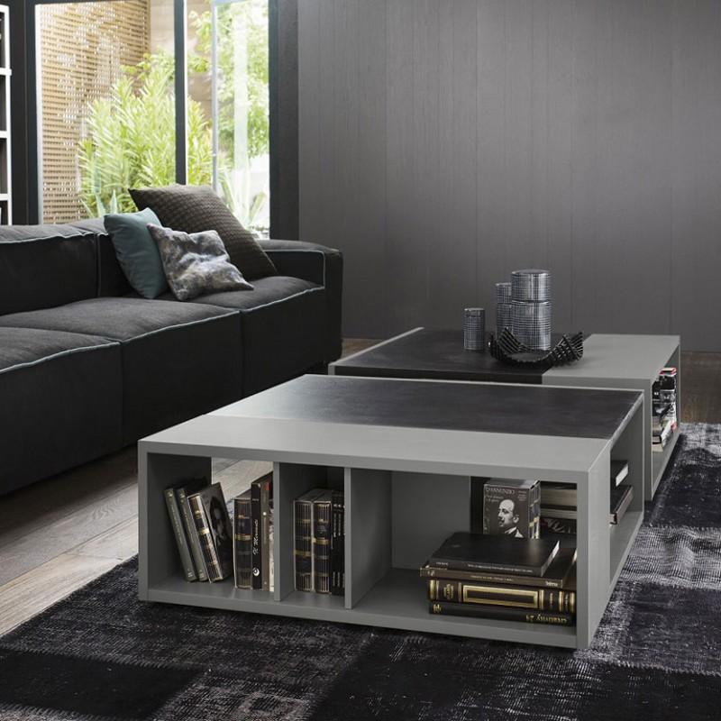 Tavolino Norman quadrato in legno con vano libreria