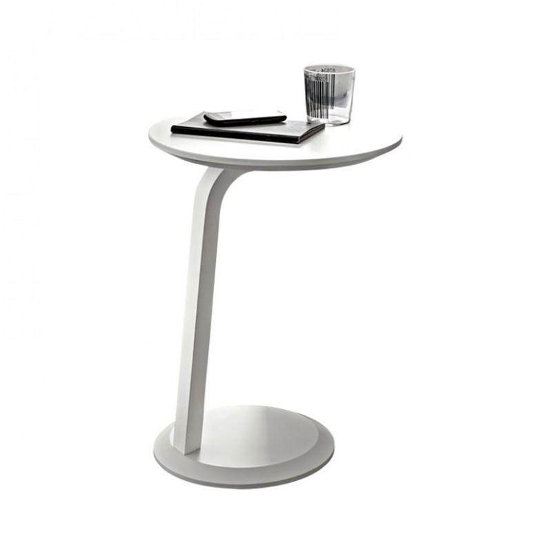 Tavolino Gioia rotondo in legno laccato Bianco