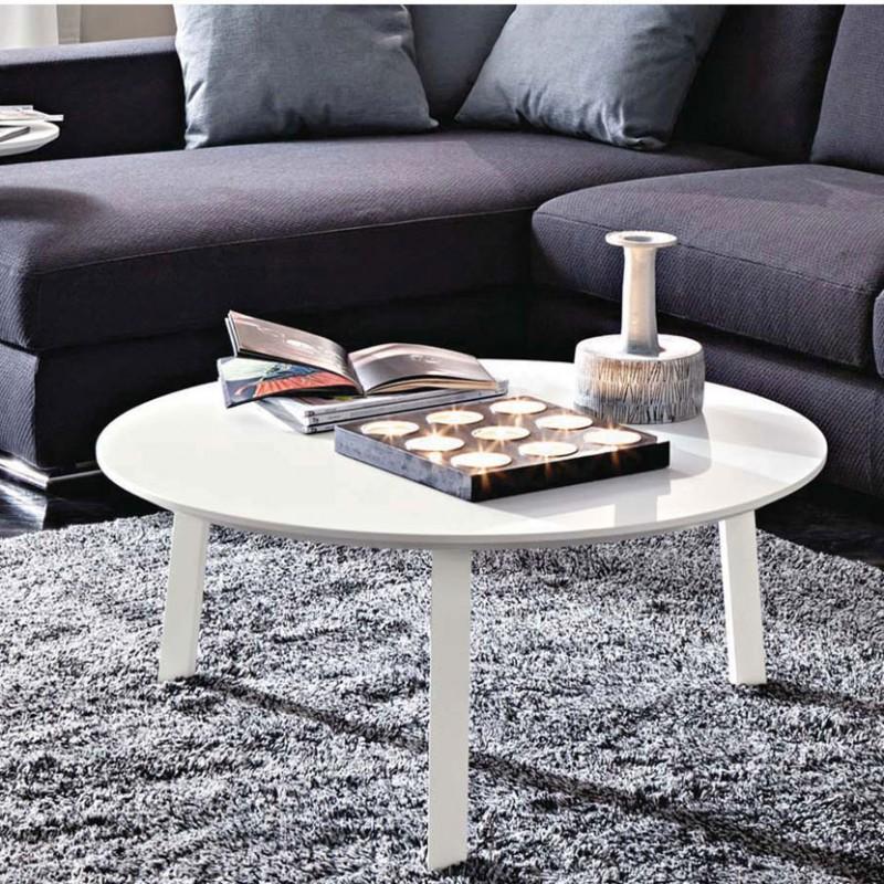 Gioia tavolino da salotto rotondo in legno laccato bianco