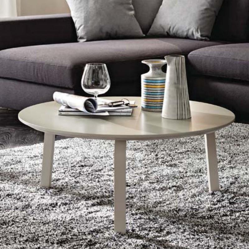 Tavolino Gioia rotondo  in legno laccato Ecrù