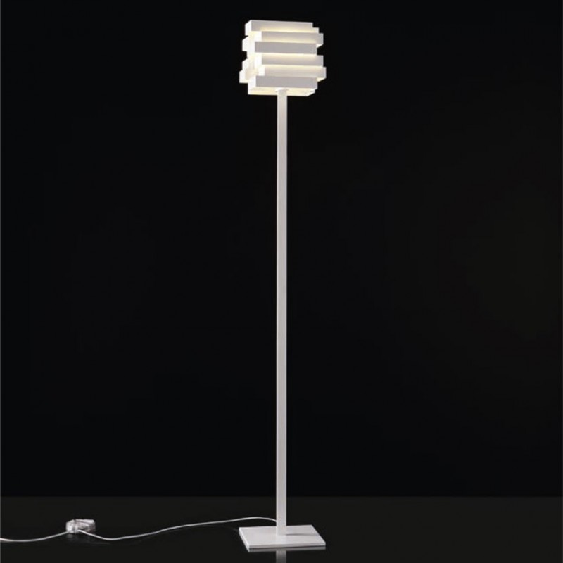 Lampada da Terra Escape Fluo E27 realizzata in alluminio verniciato bianco