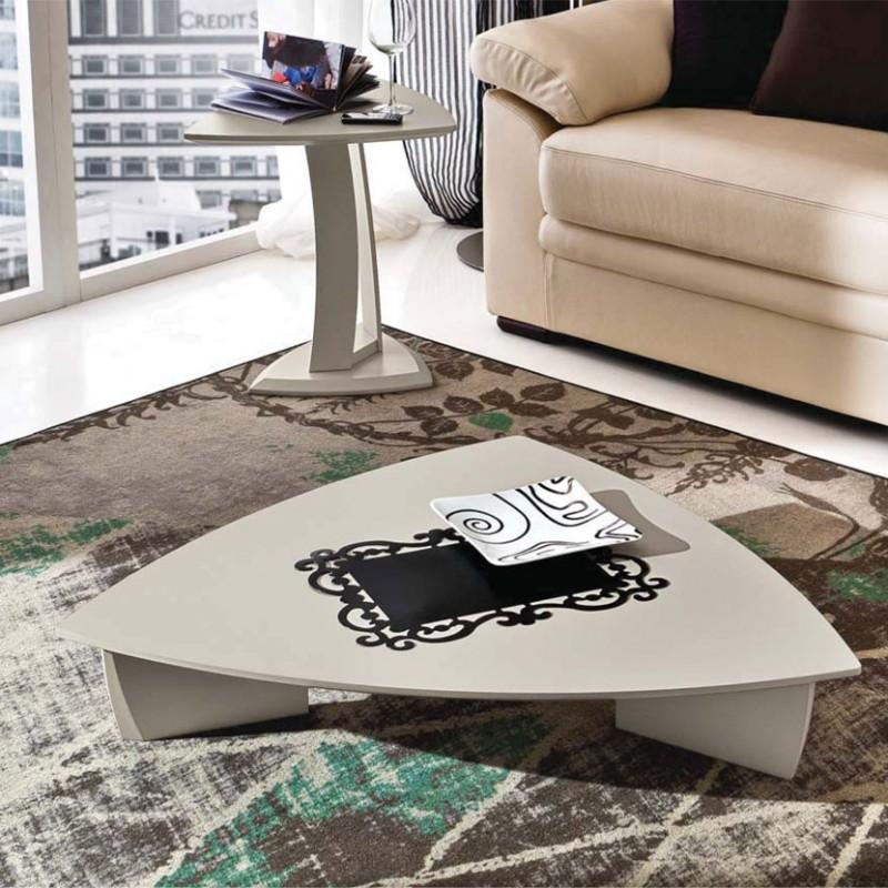 Tavolino da salotto basso Emma laccato ecrù