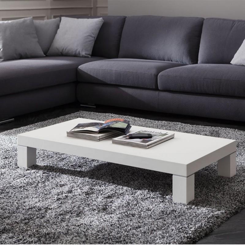 Tavolino rettangolare Anna in legno bianco