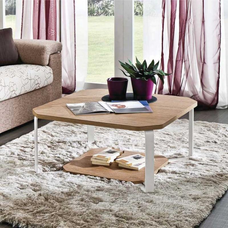 Tavolino Aurora con due ripiani olmo naturale e metallo verniciato