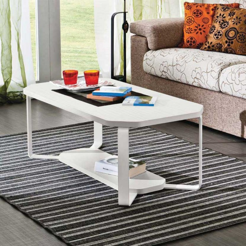 Tavolino rettangolare Aurora con due piani frassino bianco e gambe metallo