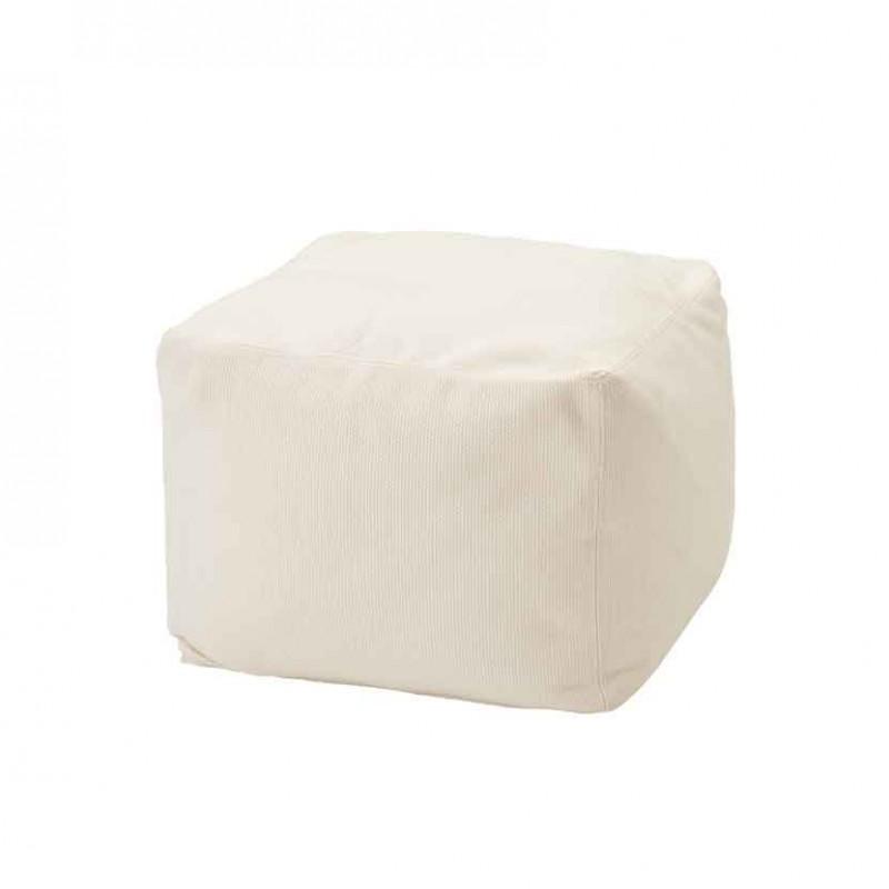 Pouf Archimede per ambienti outdoor in tessuto tecnico bianco