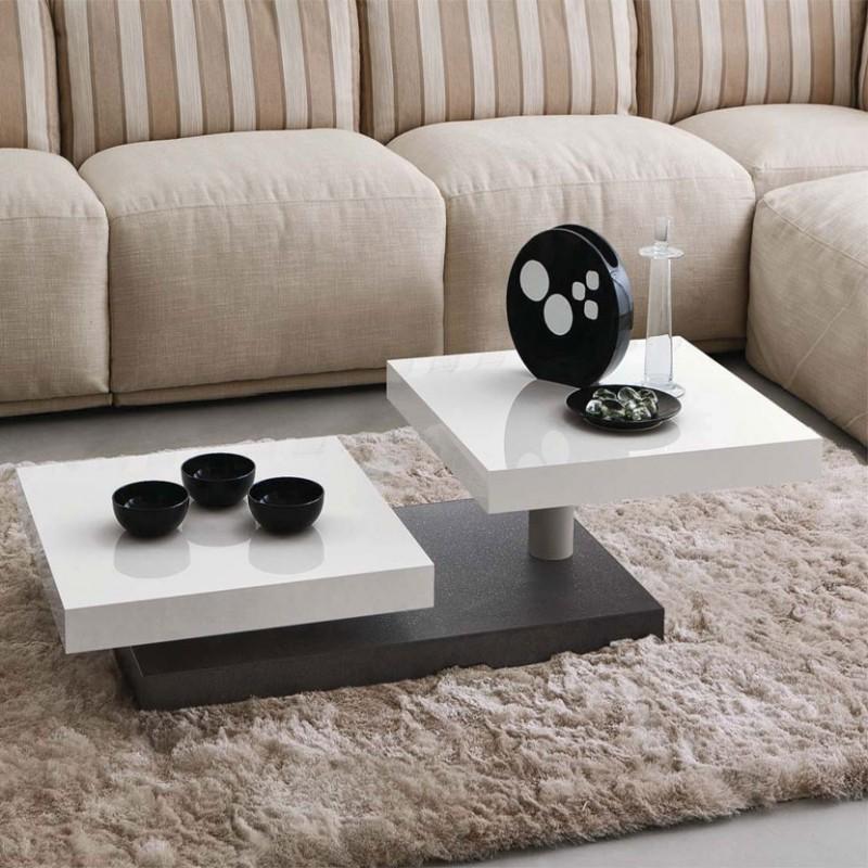 Tavolino con piani ruotanti Cecilia di colore porfido e bianco