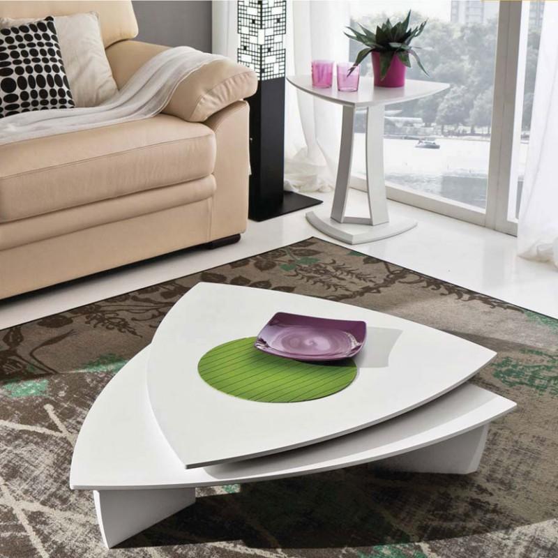 Tavolino Emma con due piani girevoli  bianco laccato