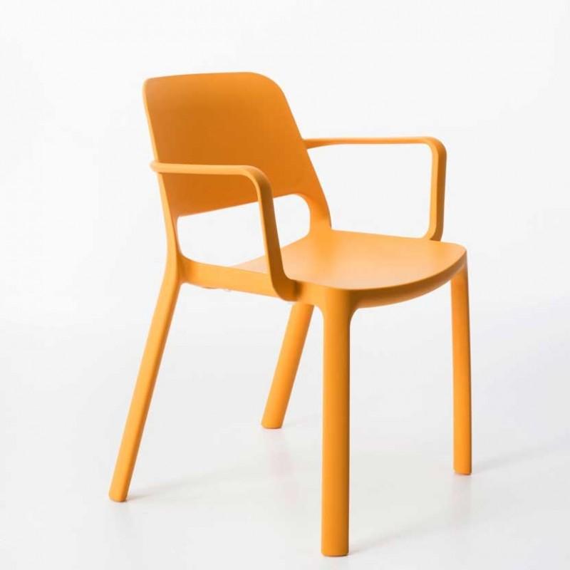 Set 4 Sedie con Braccioli per esterno in polipropilene colorato arancione