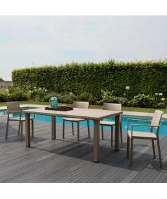 Tavolo Ercole Tortora da Esterno con sedie a bordo piscina