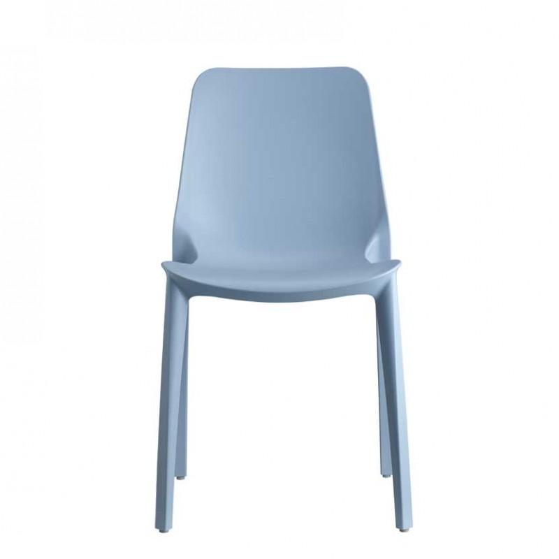 Sedia Ginevra  per interni ed esterni realizzata in tecnopolimero di colore azzurro