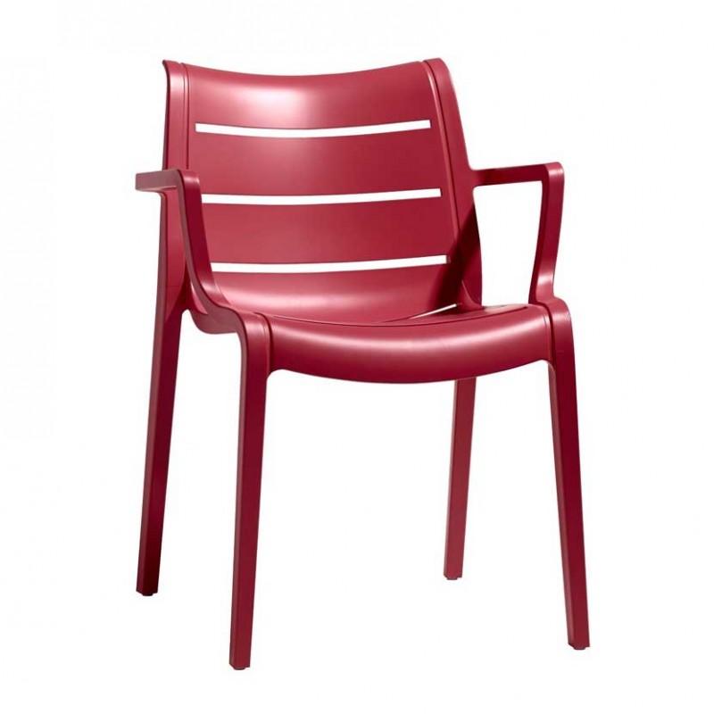 Sedie Sunset  per esterno in tecnopolimero di colore rosso geranio