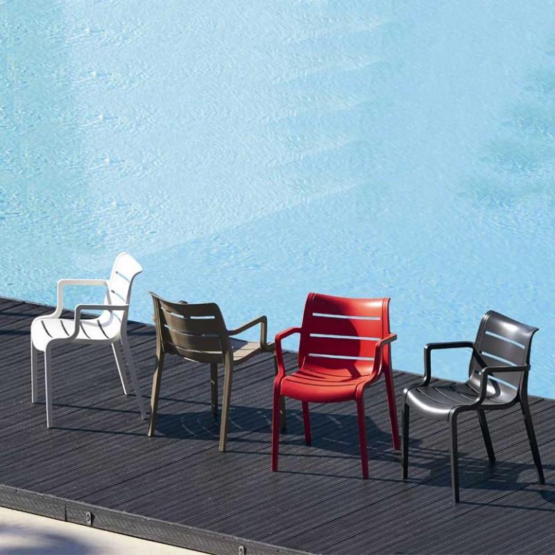 Sedie Sunset per esterno in tecnopolimero rosso antracite lino ambienetate