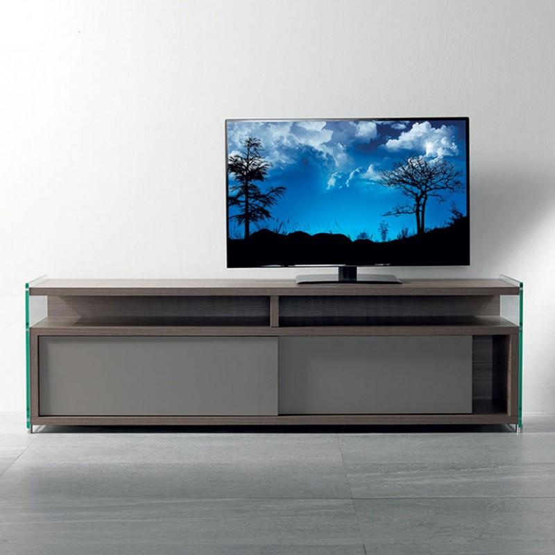 Porta tv Media di pezzani in laminato ecologico noce e grigio ardesia con fianchi in vetro