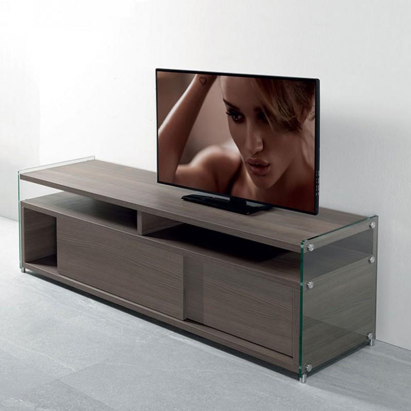 Porta tv Media di pezzani in laminato ecologico noce e vetro temperato ambientato