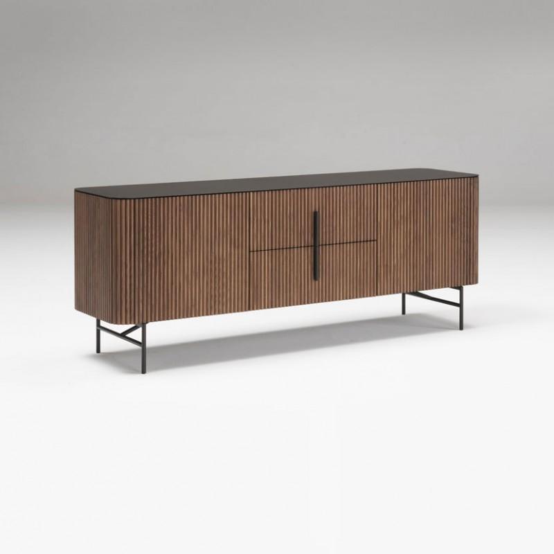 Credenza Riga di Alf DaFrè in legno massello con piano in metallo