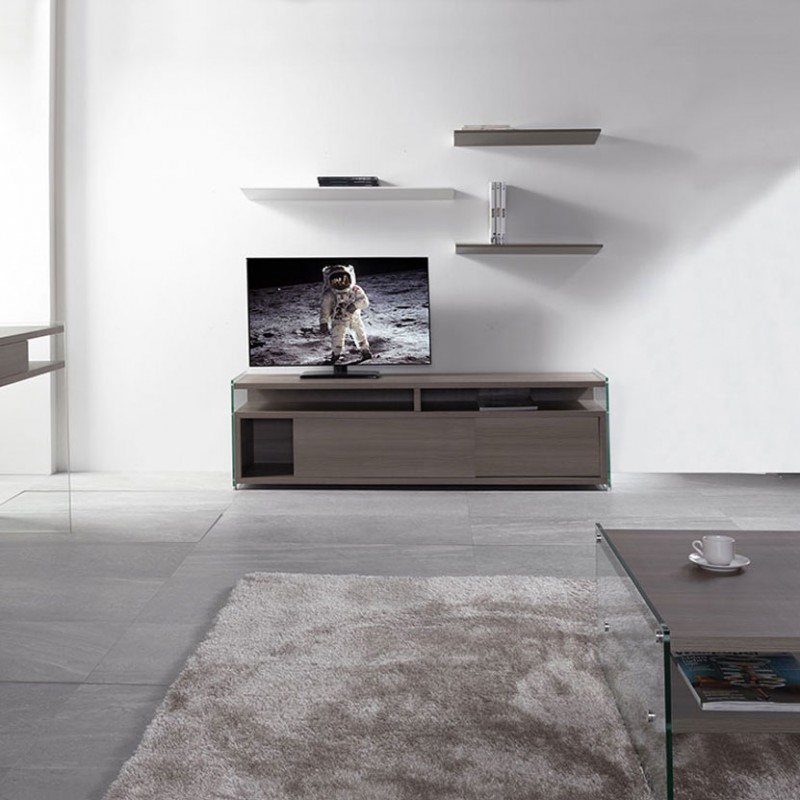 Composizione Porta tv Media Noce e mensole Ala in acciaio di Pezzani ambientata