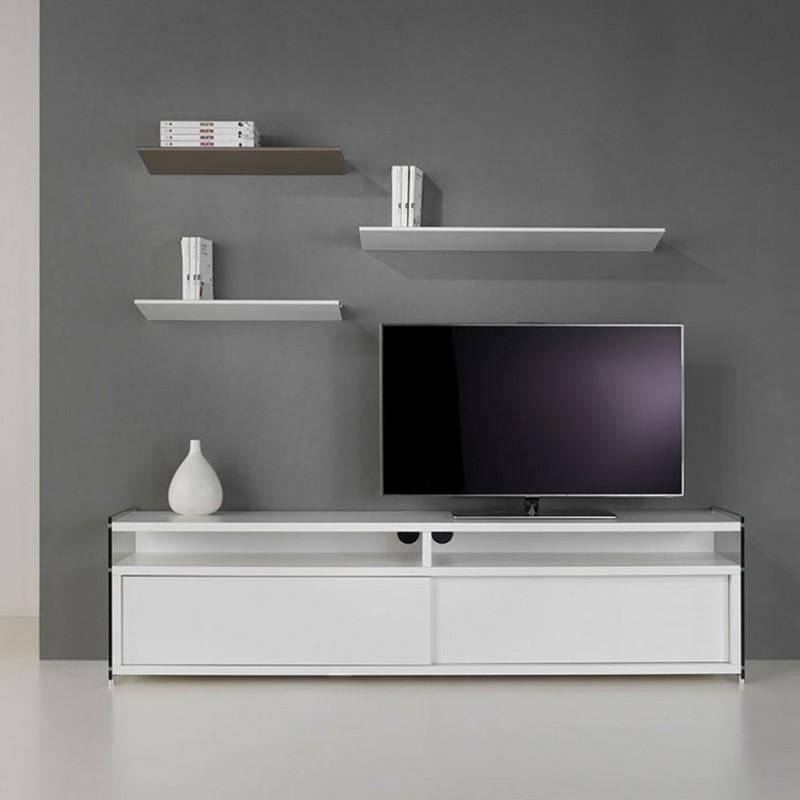 Composizione Porta tv Media bianco e mensole Ala in acciaio bianco e tortora di Pezzani ambientata