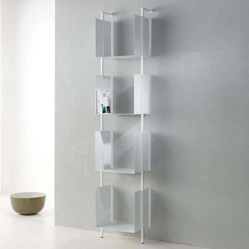 Libreria Libra con quattro contenitori in acciaio bianco di Pezzani