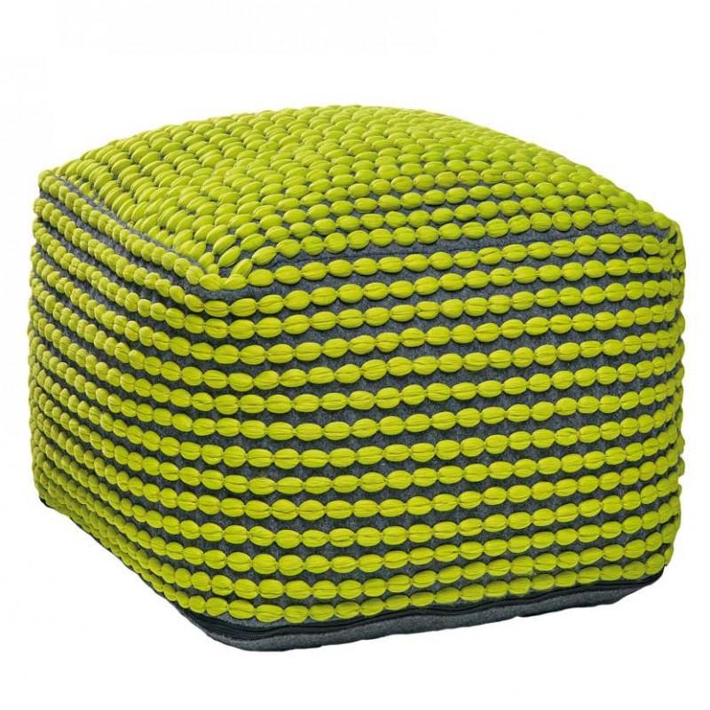 Puff Roccoco Green in cotone verde