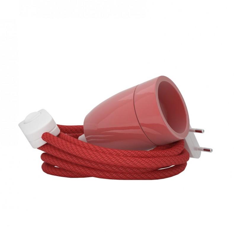 Lampada Spinello Ceramico E27 con portalampada in ceramica rosso vintage