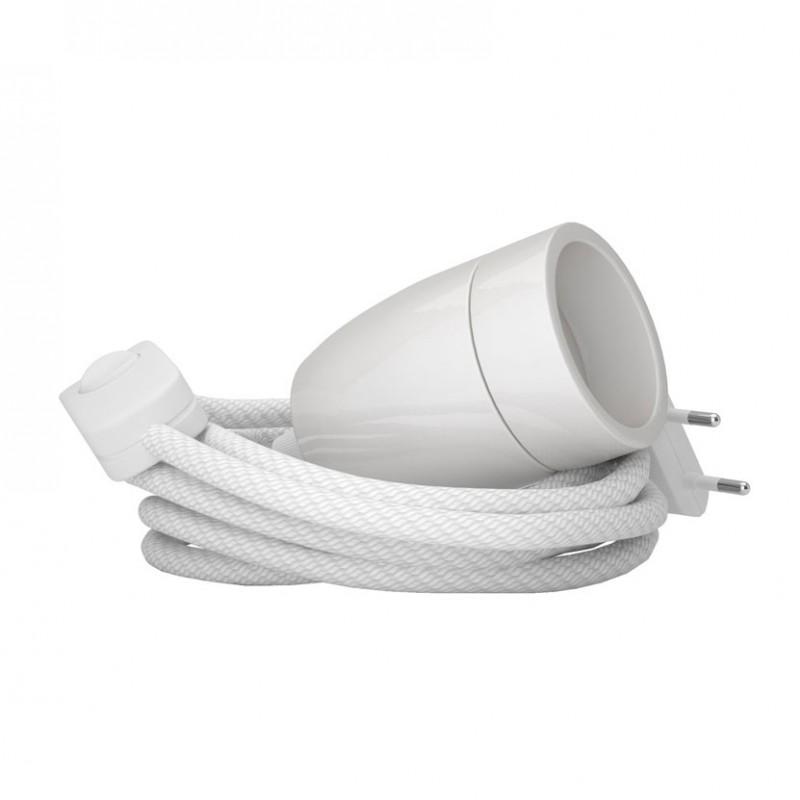 Lampada Spinello Ceramico E27 con portalampada in ceramica bianco