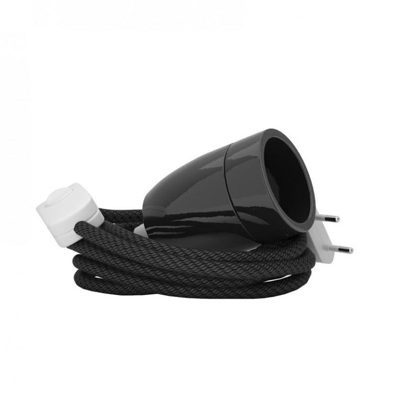 Lampada Spinello Ceramico E27 con portalampada in ceramica nero