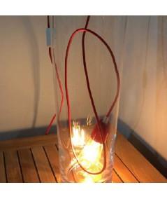 Lampada Spinello Ceramico E27 con portalampada in ceramica rosso fuoco ambientata