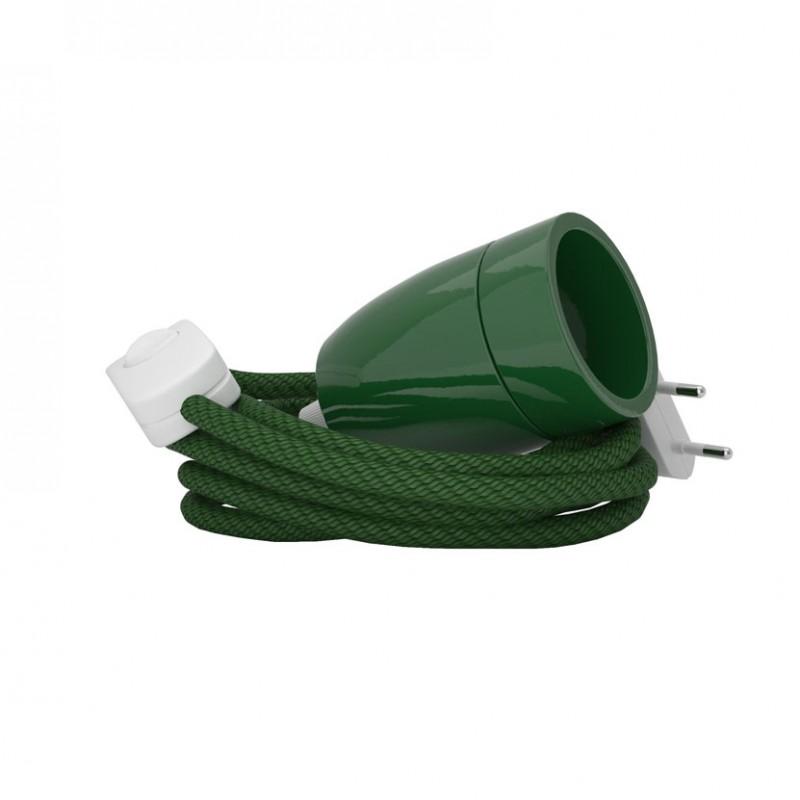 Lampada Spinello Ceramico E27 con portalampada in ceramica verde
