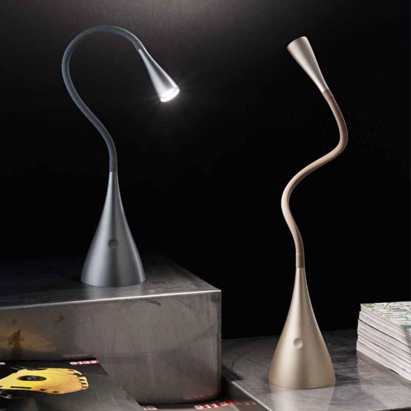 Lampada da tavolo Flex PM di colore grigio metallizzato o oro