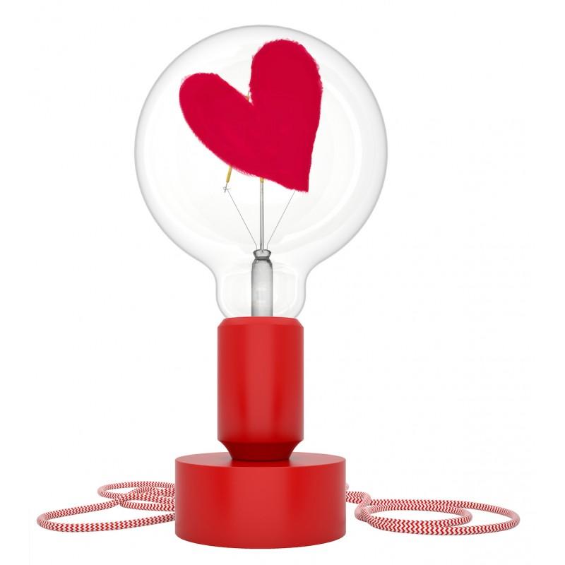 lampada da tavolo Tavolotto in silicone rosso con lampada per sognatori cuore