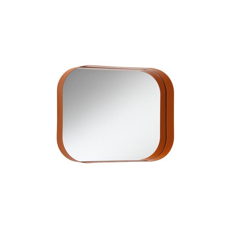 specchiera diletta orizzontale in metallo e vetro color zucca
