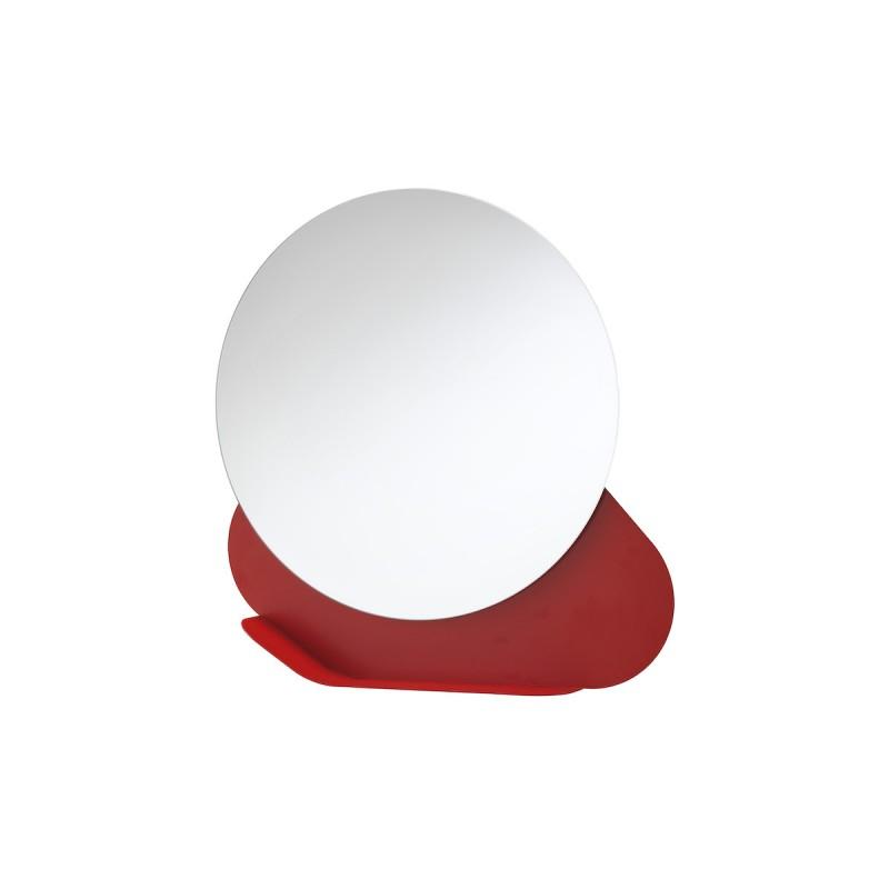 specchiera nuvola con mensola in  metallo rosso dalia e vetro