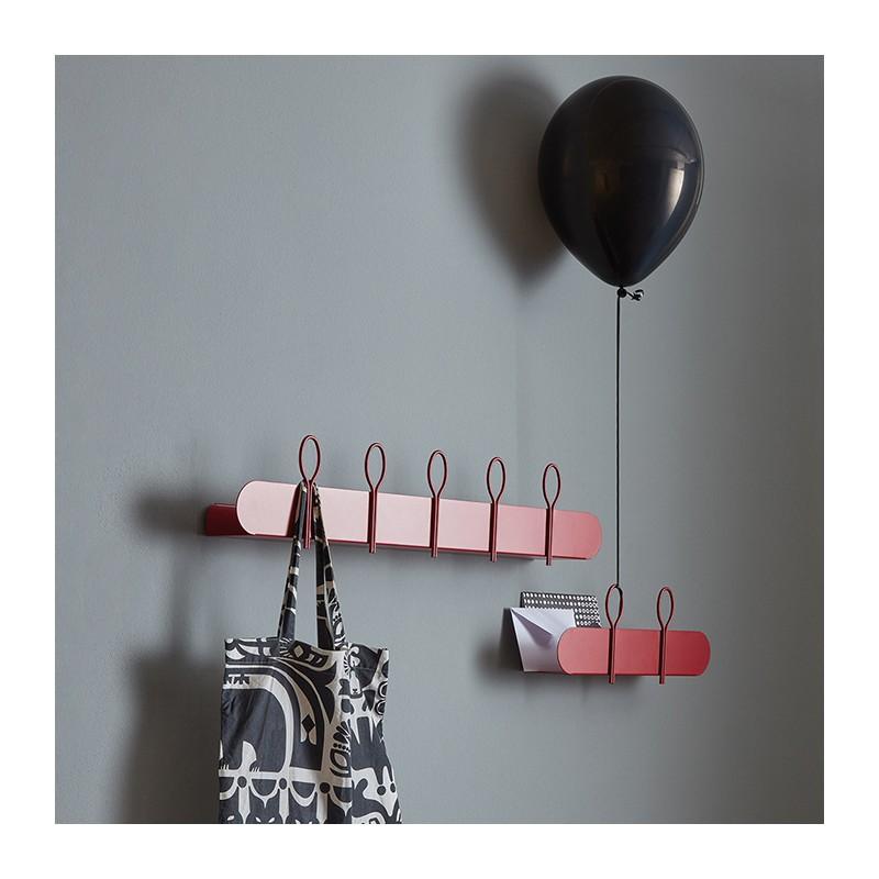 mensola appendiabiti balloon in metallo rosso dalia