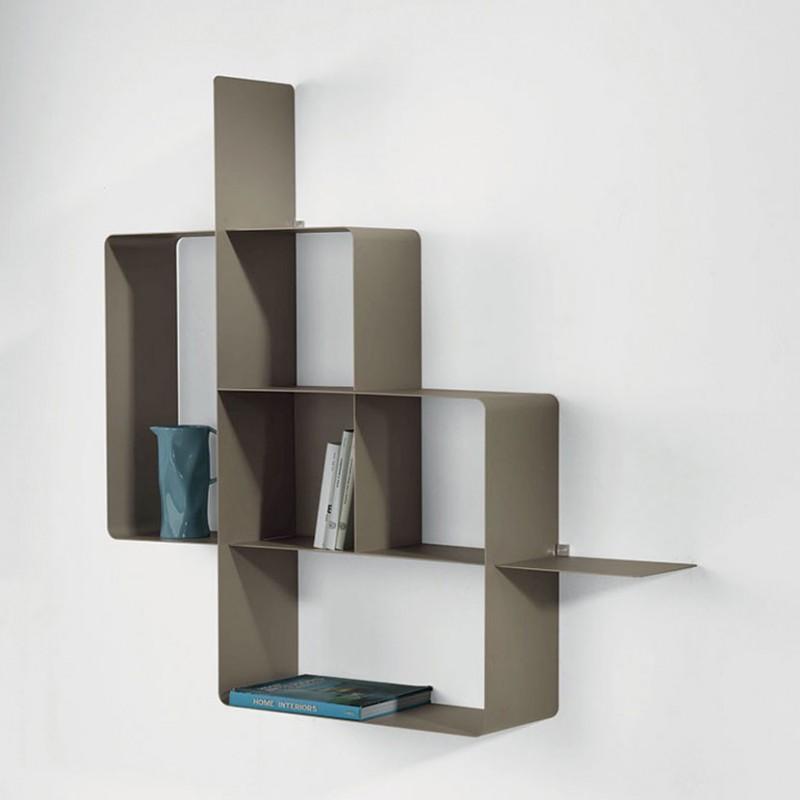 Libreria Mondrian tortora in metallo