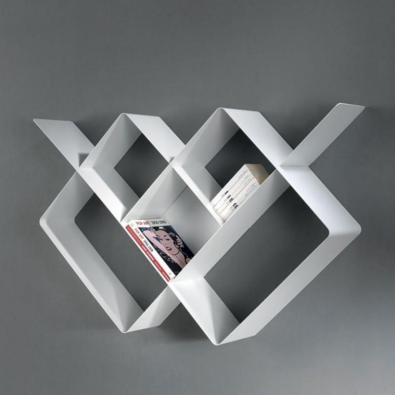 Libreria Mondrian bianco in metallo