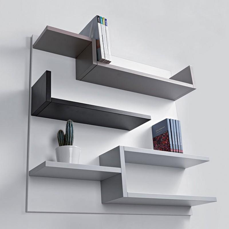 Libreria Myself di Pezzani in laminato ecologico con fondo bianco e ripiani varie tonalità del grigio