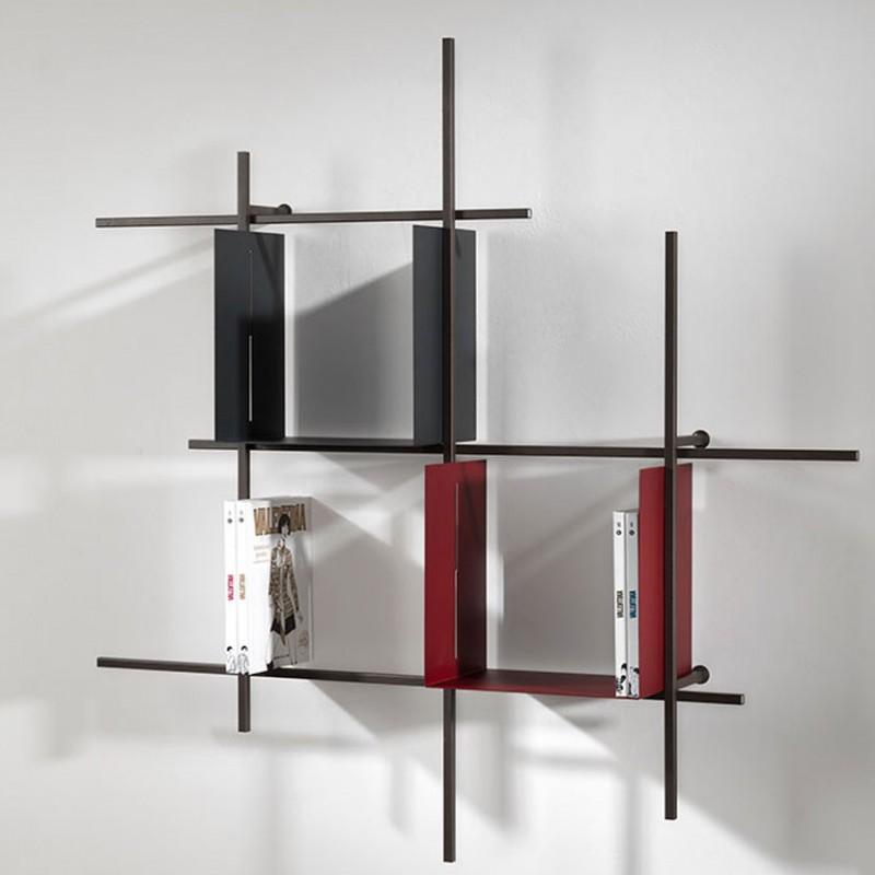 Libreria Libra in acciaio  cioccolato e contenitori Titanio e Marsala,