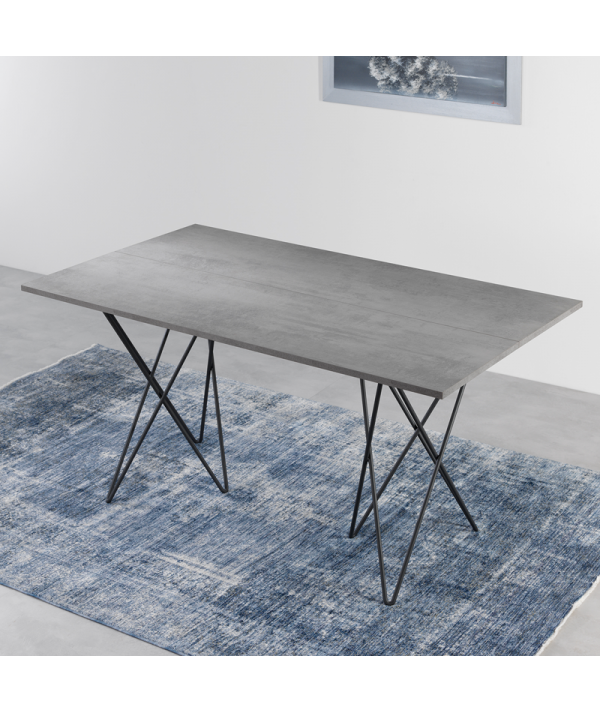 Tavolo Consolle in laminato cemento aperto