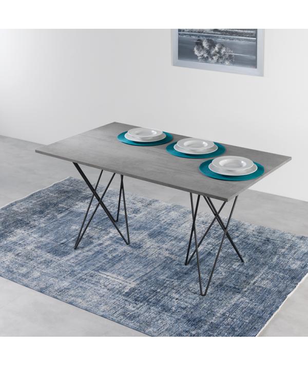 Tavolo Consolle in laminato cemento aperto ambientato