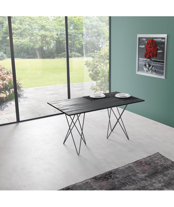 Tavolo Consolle in laminato ecologico grigio ardesia aperto