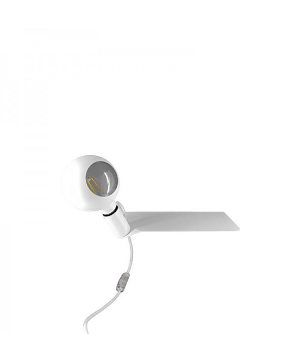 Lampada in metallo color bianco con mensola di Filotto