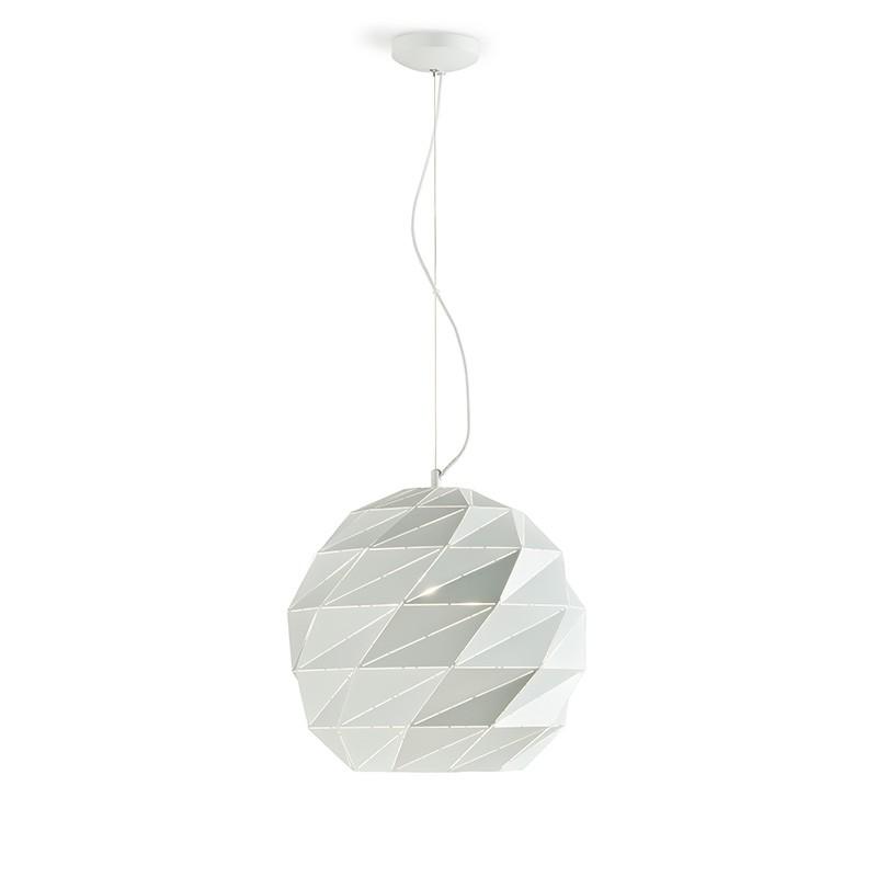 Lampada a sospensione prisma in metallo bianco media