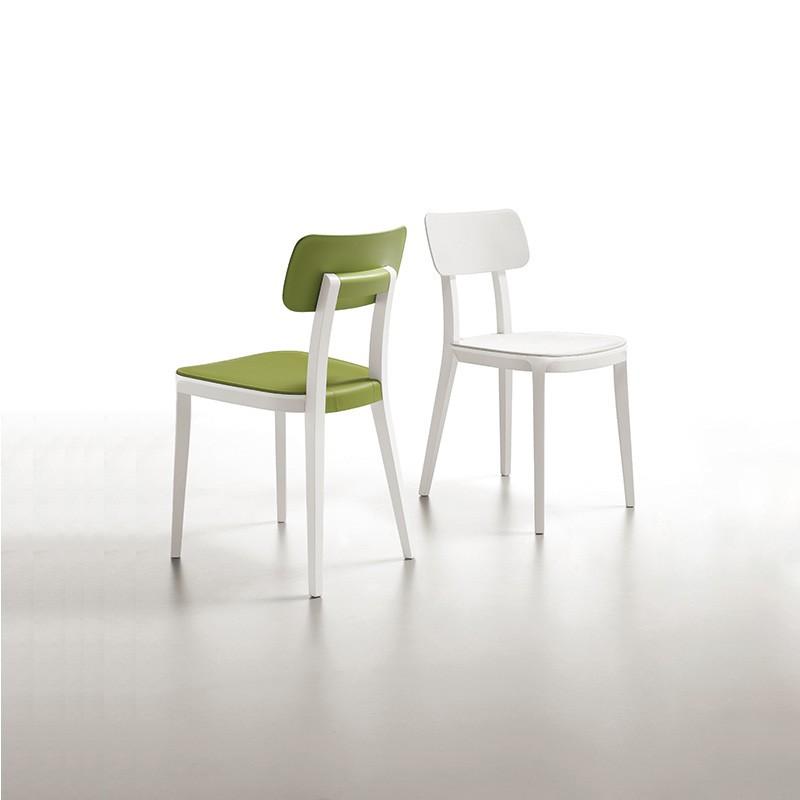 sedia porta venezia di infiniti in legno e polipropilene colorato bianco e verde
