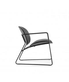 sedia con braccioli tondina lounge nera ecopelle profilo